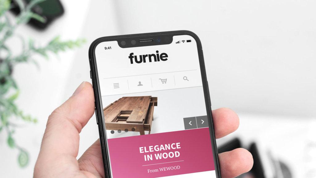 Furnie website on iPhone